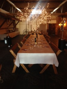The table prepared for lunch at Dancing Ewe Farm.