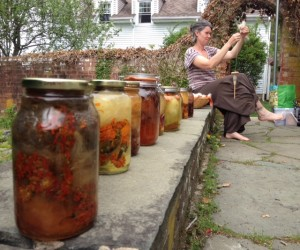 Jars in the sun with a lovely classmate spinning nearby.