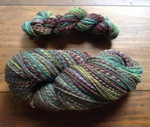 Corriedale 3-ply (and a mini-skein of 2-ply) Haven Fiber