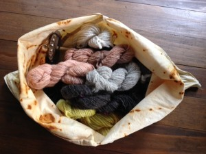 this one holds all of the hand spun and naturally-dyed fiber and yarn I've completed for my Sheep to Shawl course