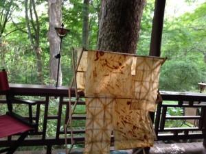 rust-dyed muslin drying at Yin Hoo