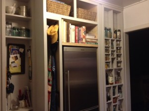 "Phase 2 of the ""spruce up"" will include a pull-out pantry housed in the narrow space beside the fridge."
