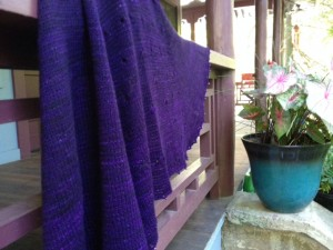 I completed Blóm in a beautiful tonal purple yarn, adding beads to the picot bind off.