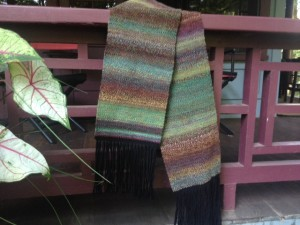 woven scarf w/ 3-ply Corriedale handspun