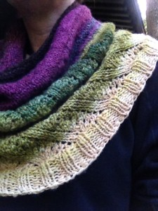 I like the way the lace detail transitions to a ribbed edging for this cowl by Andee Fagan.