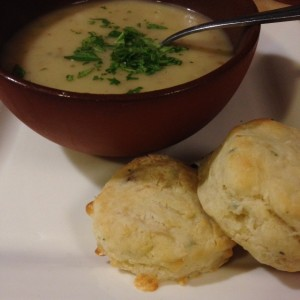 Potato Leek Soup and cheesy biscuits