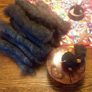 Alpaca / Jacob rolags to spin on my Turkish spindle.