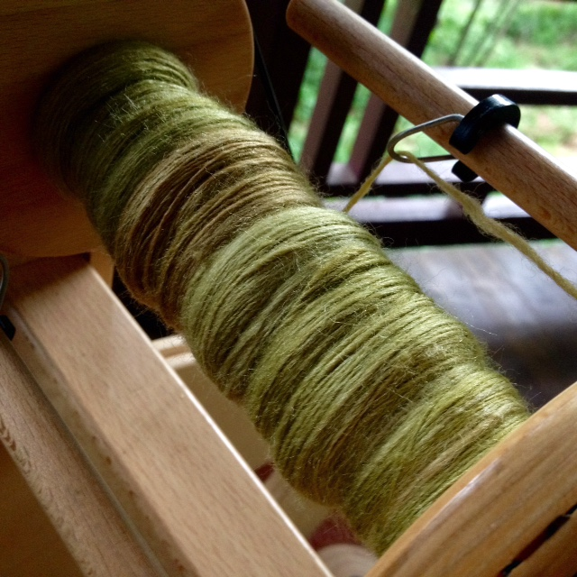 The first two ounces of merino/silk blend from Three Waters Farm have been spun. I'm addicted to the #twftdf16 thread on Instagram for constant inspiration.