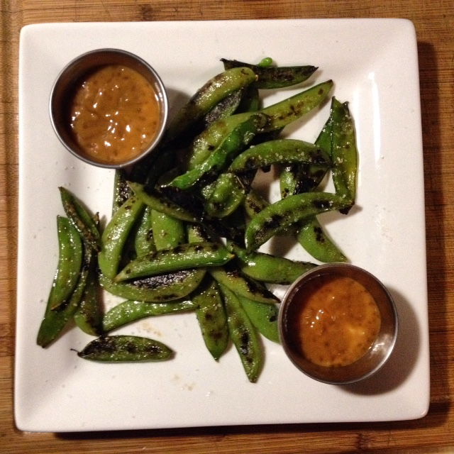These grilled snap peas with spicy peanut dressing from Dishing Up the Dirt were so delicious. I'm looking forward to trying more of Andrea's recipes.