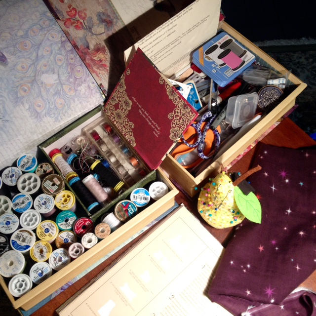 I store sewing supplies in these clever boxes that look like books. I have one for thread and bobbins, one for sewing notions, and one for zippers and bias tape.