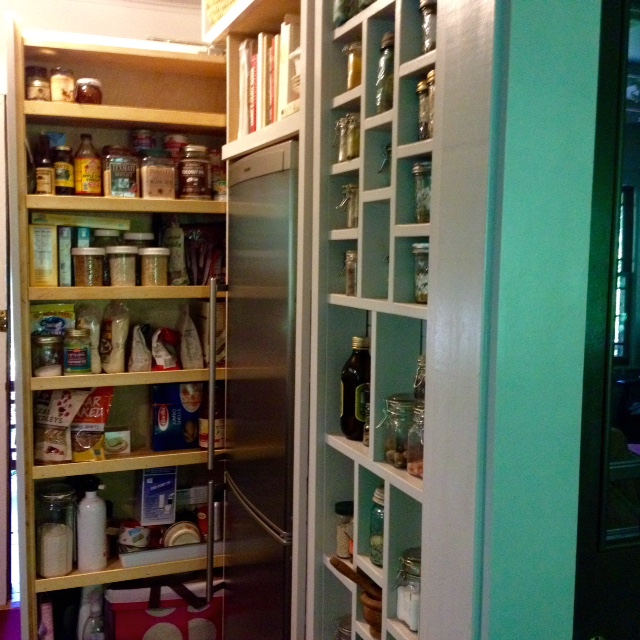 Our new pantry adds eight cubic feet of storage capacity to our small kitchen. Click for a link to the Instagram video.