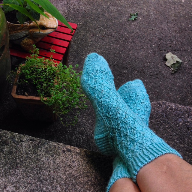 Agatha socks: pattern by Claire of NH Knits; Gynx yarn BFL sock in the sea salt ice cream colorway