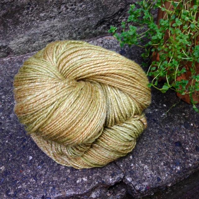 599 yards handspun: Three Waters Farm wool/silk blend in June greens colorway