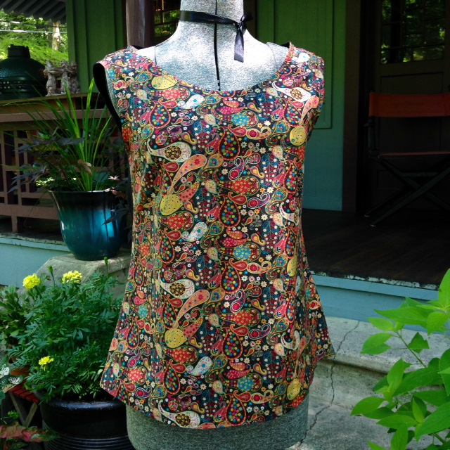 Self-drafted tank in Liberty fabric.  The back is black linen.