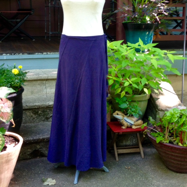 Self-drafted skirt in plum-colored linen.