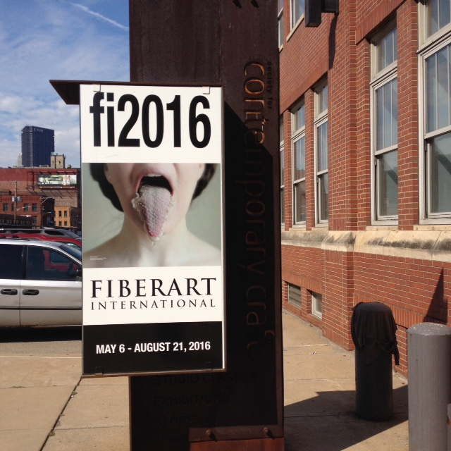 The Fiberart International show was our final fibery destination. The poster features a tatted tongue veil worn by the artist in a short video. Some of the pieces were avante garde, and some were more traditional. The show as a whole was incredibly powerful and inspiring.