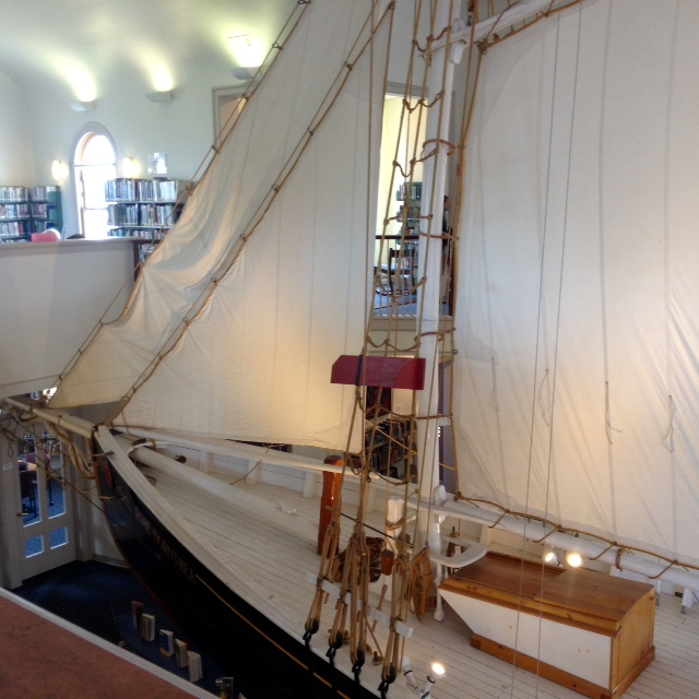 On a cloudy or a drizzly day, I like to spend an hour or two in the town's library, which houses a half-scale model of the Rose Dorothea. The building was specially designed to accommodate this ship.