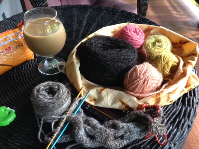 Sheep to Shawl project in progress. I'm using hand-spun, naturally-colored and naturally-dyed yarn for this project.