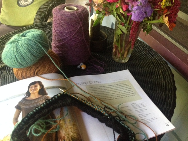I've been playing with colors, yarn weights, and gauge for the Bressay Dress designed by Gudrun Johnston.