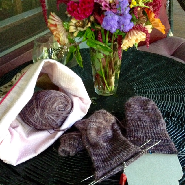 """My sox-periment: knitting socks in tandem on Hiya Hiya sharps and Knitters Pride Karbonz. I decided to add 2"""" of ribbing after completing the gusset, resulting in a stretchier and better-fitting sock."""