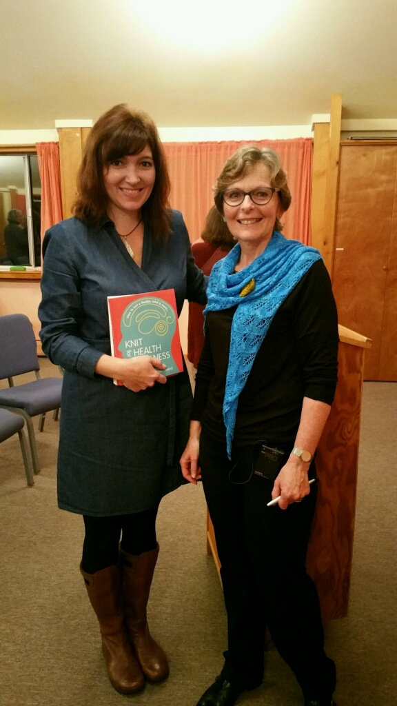 Betsan Corkhill, author of Knit for Health and Wellness, spoke at the Threefold Center.