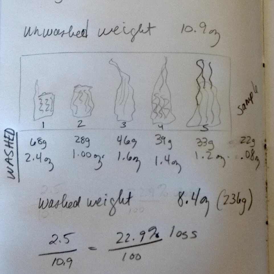 Calculations of unwashed vs. scoured fleece. I experienced a 22.9% loss.