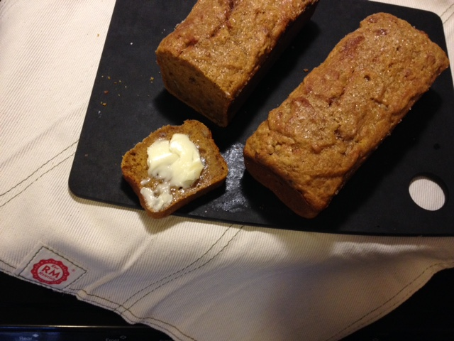 This weekend, I made pumpkin bread (recipe from Joy of Cooking).