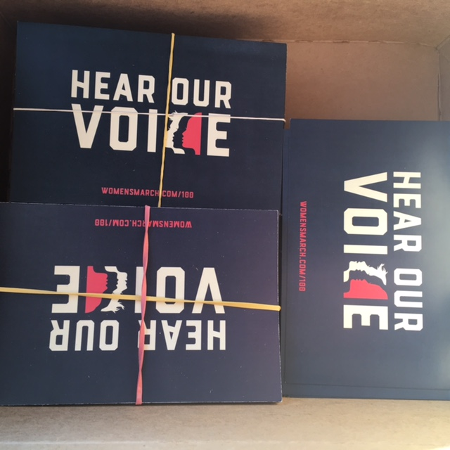 I had 500 postcards printed upon returning from the march. I have mailed a lot to knitter friends, but still have about 100 to distribute. If you need some, let me know!