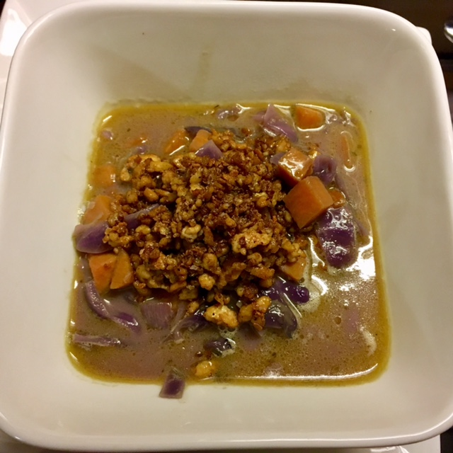 Curried Purple Cabbage and Sweet Potato Soup