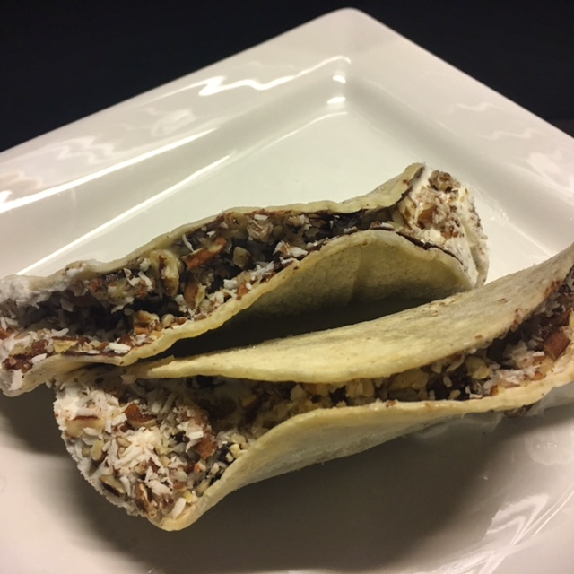 Toasted corn tortillas, melted chocolate, coconut ice cream, coconut and chopped pecans. #powerpantry